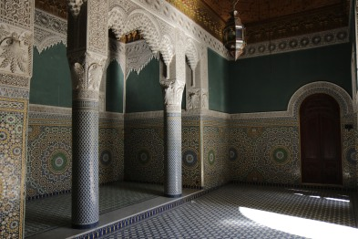 One of the empty halls that is rented out for weddings. All the mosaics are handcrafted and made in Fes.